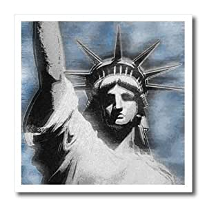 ht_19424_3 Perkins Designs USA - Lady Liberty digitally stylized Statue of Liberty in gray and blue colors - Iron on Heat Transfers - 10x10 Iron on Heat Transfer for White Material