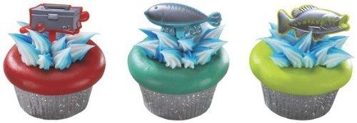 Picks Cupcake Sprays - 24 count - Fishing Fish Tackle Box Metallic Cupcake Picks