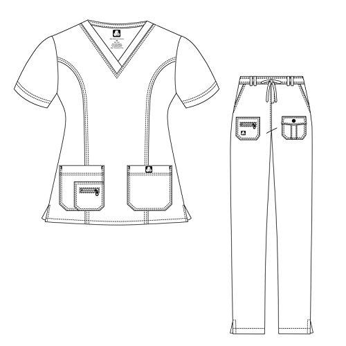 Adar Indulgence Jr. Fit Women's Scrub Set - Enhanced V-Neck Top/Multi Pocket Pants - 4400 - Ceil Blue - S by ADAR UNIFORMS (Image #3)