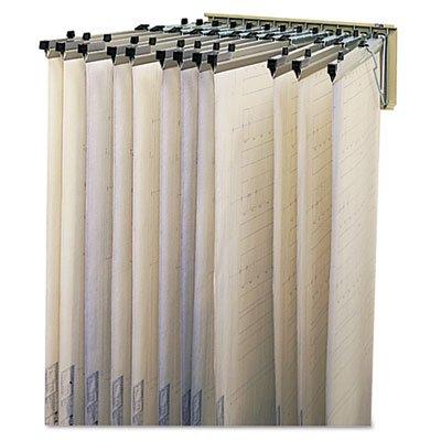 Sheet File Pivot Wall Rack, 12 Hanging Clamps, 24w x 14-3/4d x 9-3/4h, Sand