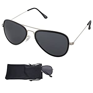 Aviator Sunglasses - Smoke Lenses With Matte Silver Metal Frames - UV Ray Protected Shades For Men & Women - By Optix 55