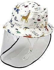 Bageek Kids Bucket Hat Cartoon Anti-saliva UV Protection Sun Hat Fisherman Hat with Detachable Face Shield