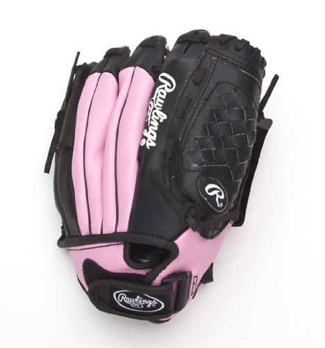 Rawlings Players Series Youth 10.5-inch T-Ball Pattern Glove, Pink/Black,  Right-Hand Throw (PL105PB)