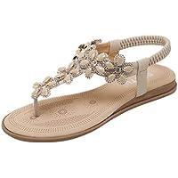 COPPEN Women Sandals Summer Elastic Band Flip Flops Wedges Fashion Bohemia Shoes Black