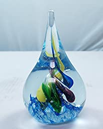 M Design Art Handcraft Glass Rainbow Spiral Tear Drop Art Glass Paperweight Sculpture (Large)