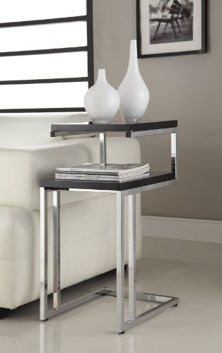 Black Finish Chrome Chair Side End Snack Table (Side Table Black Finish compare prices)