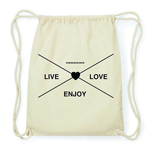 JOllify HERRENHAUSEN Hipster Turnbeutel Tasche Rucksack aus Baumwolle - Farbe: natur Design: Hipster Kreuz M2hlhr