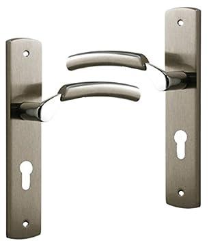 Poignée De Porte Extérieure Design En Laiton Nickel Satiné Sur Plaque Clé I  Entraxe 195 Mm