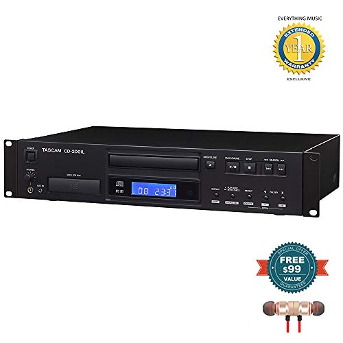 Tascam CD-200iL Rackmount Professional CD Player & Lightning and 30-Pin iPhone/iPod Cradle Includes Free Wireless Earbuds - Stereo Bluetooth in-Ear and 1 Year Everything Music Extended Warranty