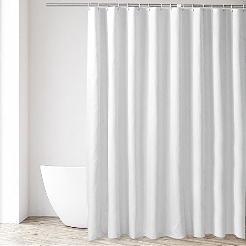 Eforgift Polyester Fabric Shower Curtain Extra Long Plain Polyester Water Proof Mold Resist Bath Curtain Machine Washable with Rust Proof Metal Grommets, 72 by 86 inches, White