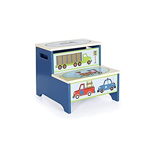 Guidecraft Hand-painted Moving All Around Step-Up, Themed Child's Step Stool with Storage - Hand Painted Train Toy