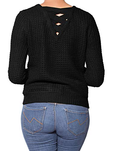 (Design by Olivia Women's Criss Cross Braided Back Solid Cable Knit Pullover Sweater Top Black M)