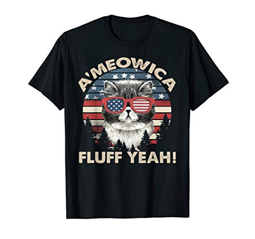 (A'meowica Fluff Yeah Persian Cat TShirt US 4th Of July Gifts)
