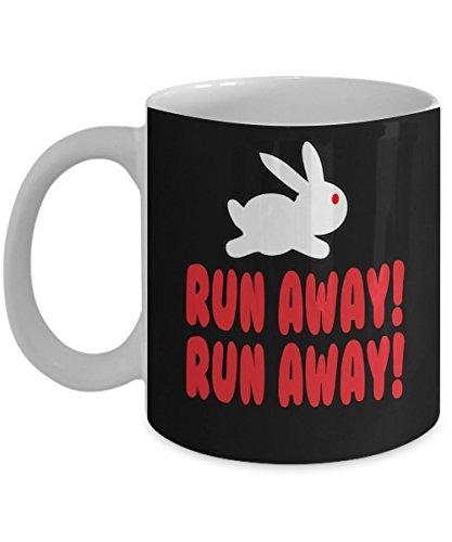Monty Python - The Holy Grail - Killer Bunny Rabbit - Run Away Coffee Mug, Funny, Cup, Tea, Gift For Christmas, Father's day, Mother's day, Grandpa, Papa, Dad, Grandfather, -