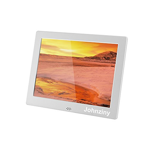 Johnziny 8 Inch Digital Photo Frame- Metal Electronic Picture Frame with 1024×768 High Resolution Display & Remote Controller Support SD/MMC/MS Card/USB Port