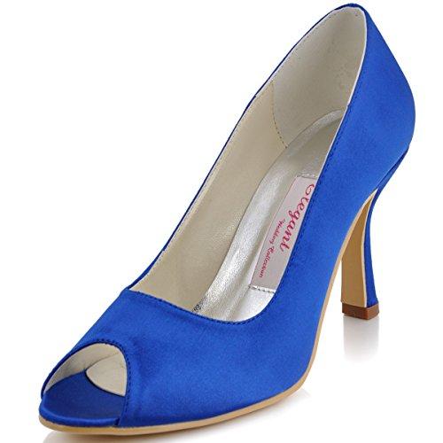 ElegantPark EP11017 Mujer Peep Toe Baile Tacón de Aguja Satén Boda Zapatillas Zapatos de Fiesta Azul