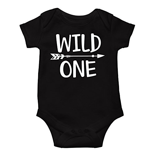 Olive Loves Apple Wild One Baby Boys 1st Birthday Outfit Smash Cake Outfit Wild One First Birthday Bodysuit for Boys,Black Bodysuit,6 12 Short Sleeve ()