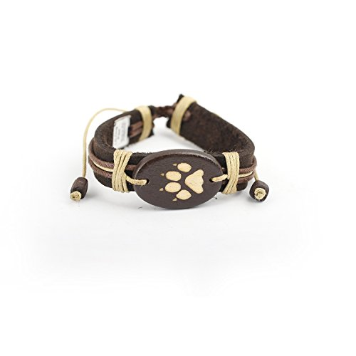 Adjustable Genuine Leather Bracelet - Dog Paw