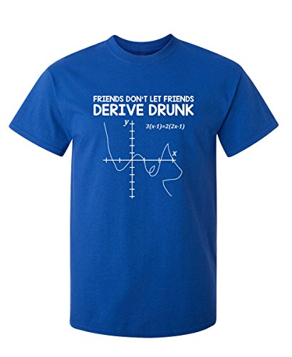 Let Friends Drink and Derive Graphic Novelty Sarcastic Funny T Shirt L Royal