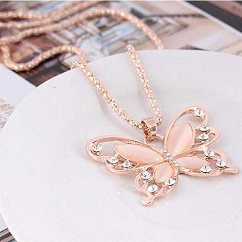 Jovono Fashion Necklace with Rose Butterfly Pendant for Birthday Friendship Jewelry Mothers Day Gift ()
