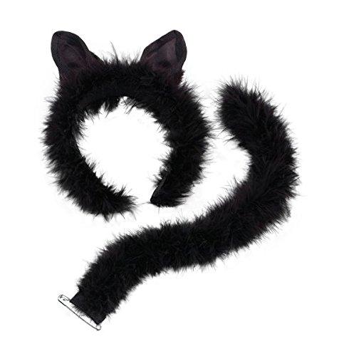 Black Cat Fancy Dress Set Ears & Tail Halloween Party by Bristol Novelties