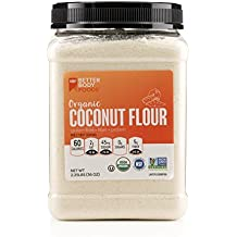 BetterBody Foods Organic Coconut Flour 2.25 Pound Jar, Naturally Gluten-Free White Flour Alternative with a Slight Coconut Taste and Aroma, 23% Dietary Fiber per Serving