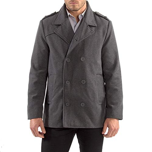 Alpine Swiss Men's Double Breasted Wool Peacoat Dress Jacket,Gray,X-Large