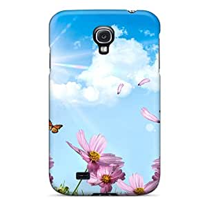 New Diy Design Pink Flowers With Butterflies For Galaxy S4 Cases Comfortable For Lovers And Friends For Christmas Gifts