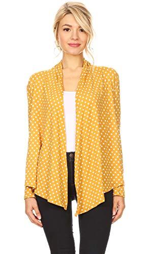 Reg Pack - Womens Open Drape Cardigan Reg and Plus Size Cardigan Sweater Long Sleeves - USA (Size Medium, Mustard Polka Dot)
