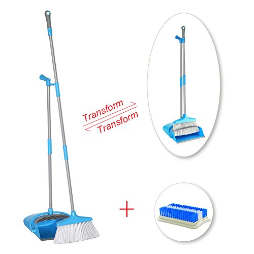 IKU Transmutable in Length Long Handle Broom and Dustpan Set - 3 Poles (48'') & 2 Poles (35.2'') - Indoor Upright Standing Collapsible Lobby Broom for Home Office Kitchen with Hand Scrub Brush(Blue) by IKU