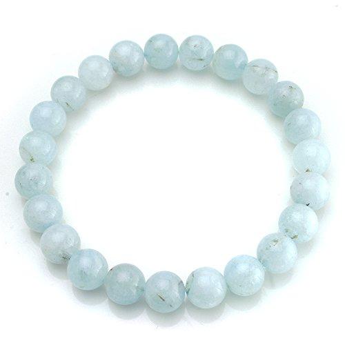 BEADNOVA AAA Grade 6mm Aquamarine Gemstone Bracelet Semi Precious Gemstone Birthstone Round Beads Stretch Bracelet 7