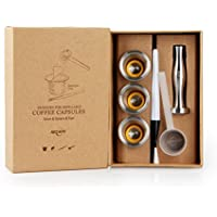RECAPS Stainless Steel Refillable Capsules Reusable Pods Compatible with Nespresso Machines(3 Pods+120 Lids+1 Tamper)