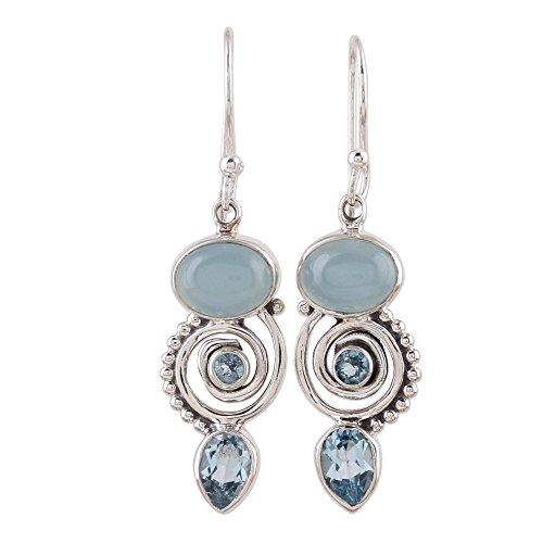 NOVICA Blue Topaz and Chalcedony .925 Sterling Silver Dangle Earrings 'Sentimental Journey' (Topaz Blue Earrings Chalcedony)