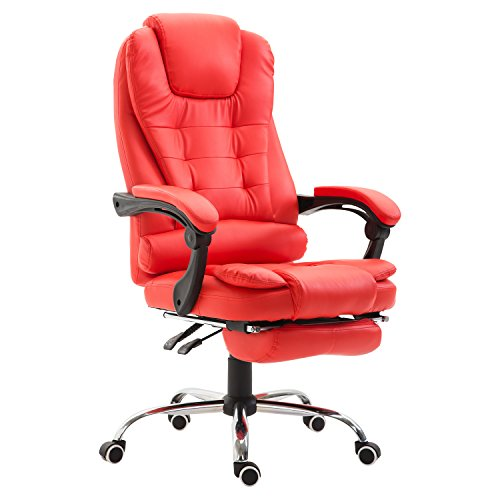 HomCom High Back Reclining PU Leather Executive Office Chair with Footrest (Red)