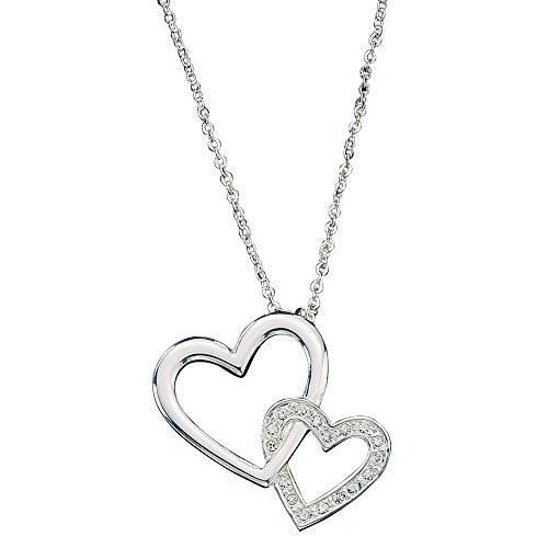 Montana Silversmiths Double Heart with Crystal Necklace - Heart Silversmiths Montana