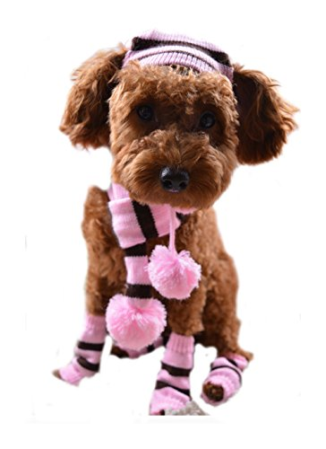 [Freerun Pet Dog Winter Scarf Pom-pom Cap Collar Clothes Costume Warm Knitted Hat Leg Warmer - PinkB,] (Pictures Of Homemade Pig Costumes)