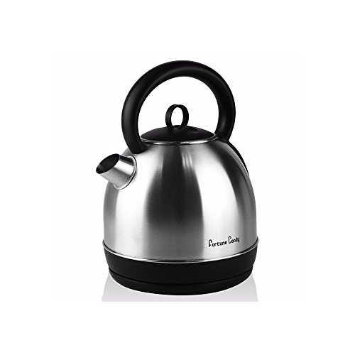 Electric Kettle for Kitchen Pantry 1.7 L 1500W Cordless Durable Stainless Steel Brushed Quick Boil Dome Tea Pot Kettle Boiler with Large Spout Cool-Touch Handle Auto Shut Off by Fortune ()