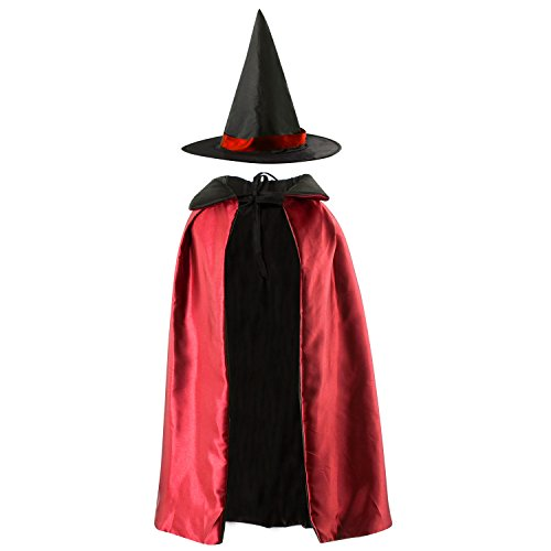 Acecharming Kids' Witch Cape with Hat Double Side Vampire Cloak for Halloween (Length 90cm, ()