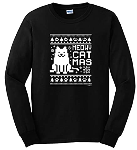 Plus Size Ugly Christmas Sweater Meowy Catmas Cat Ugly Christmas Sweater Themed Long Sleeve T-Shirt 2XL (Themed Sweaters)