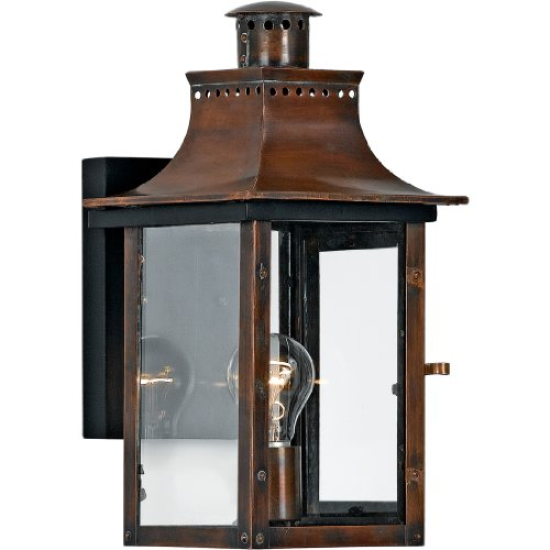 1 Light Aged Copper (Quoizel CM8408AC Chalmers 1-Light Outdoor Lantern, Aged Copper)