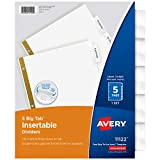 Avery 5-Tab Binder Dividers, Insertable Clear Big Tabs, 1 Set (11122)