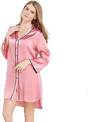 Mujer dama 100% seda pura Pijama Bata de noche Mangas largas Bata de baño Suave Cómodo Frío Adecuado para verano y primavera Casa Ropa , pink , L