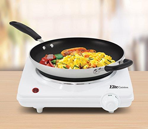 Elite Cuisine ESB-301F 1000 Watt Single Buffet Burner Electric Hot Plate, White by Maxi-Matic (Image #3)