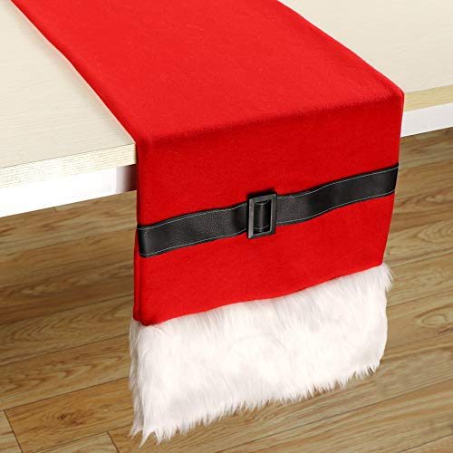 Aparty4u Red Santa Belt Christmas Table Runners 72 x 14, Faux Fur Table Runner for Christmas Holiday Party Table Decorations