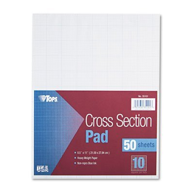Section Pads w/10 Squares, Quadrille Rule, Ltr, White, 50 Sheets, Sold as 1 Pad, 12PACK , Total 12 Pad