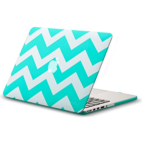 Kuzy Chevron TEAL HOT Case for Older MacBook Pro 13.3 with Retina Display A1502/A1425 Shell Rubberized Hard Cover - Chevron TEAL Blue