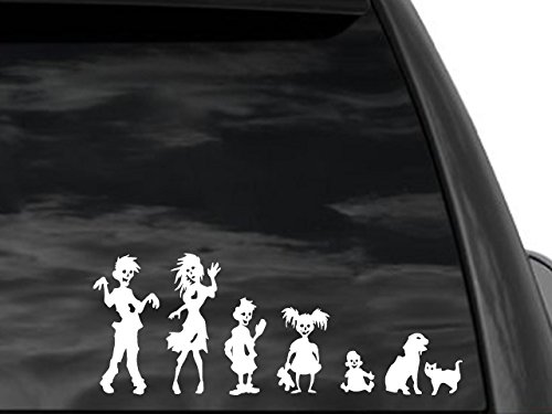 [FGD Funny Stick Figure Family ZOMBIES Decal] (Zombie Family Decals)