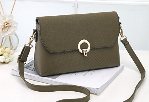 BAO Bolsos de mujer Diagonal Bolsa de hombro Bolsa de asas V-Moda Personalidad Flip Cover Party Bag Moda, gray green