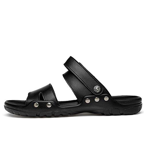 morbidi all'aperto da Dimensione aperti Comodi Nero Color Sandali l'estate Nero EU Sunny amp;Baby sandali Antiscivolo per uomo 42 tqwEvtx6
