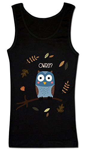 Owrly? Owl Saying Ow Really? T-shirt senza maniche da donna